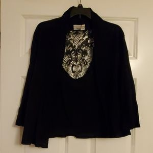 Black Cardigan with Back Lace Panel